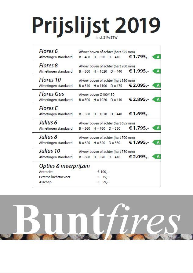 Buntfires Prijslijst 2019